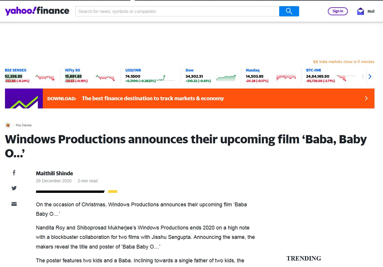 Windows Productions announces their upcoming film 'Baba, Baby O…'